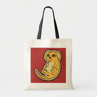 Sweet Yellow And Red Puppy Dog Drawing Design Tote Bag