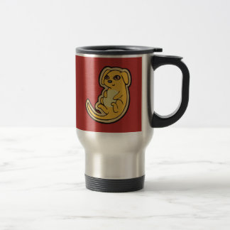 Sweet Yellow And Red Puppy Dog Drawing Design Travel Mug
