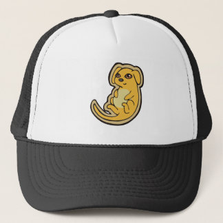 Sweet Yellow And Red Puppy Dog Drawing Design Trucker Hat