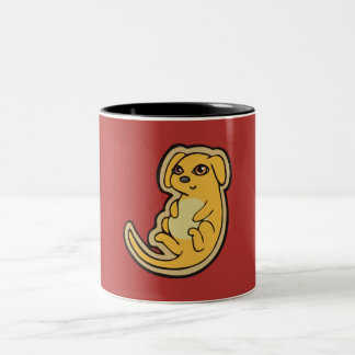 Sweet Yellow And Red Puppy Dog Drawing Design Two-Tone Coffee Mug