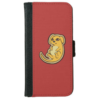 Sweet Yellow And Red Puppy Dog Drawing Design Wallet Phone Case For iPhone 6/6s