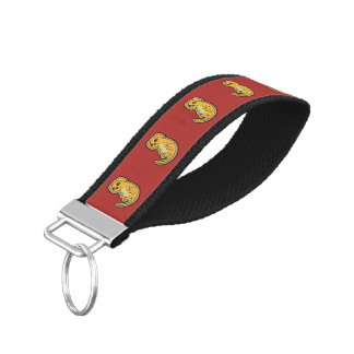 Sweet Yellow And Red Puppy Dog Drawing Design Wrist Keychain