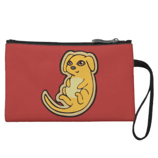 Sweet Yellow And Red Puppy Dog Drawing Design Wristlet