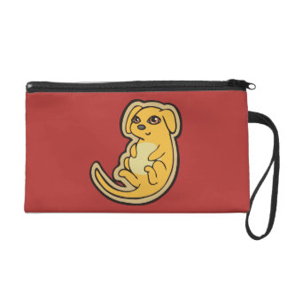 Sweet Yellow And Red Puppy Dog Drawing Design Wristlet Purse