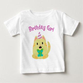 Sweet Yellow Cat Birthday Girl Baby T-Shirt