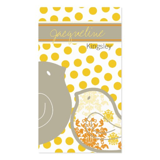 Sweet Yellow Damask Chicks Custom Profile Card Business Card Templates