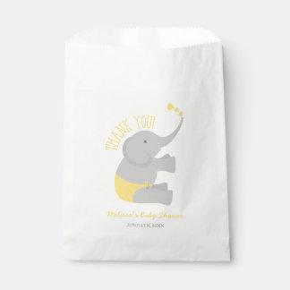 Sweet Yellow Gray Elephant Baby Shower Favor Bag