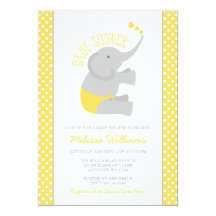 Elephant baby shower yellow gray invitations announcements zazzle filmwisefo Choice Image