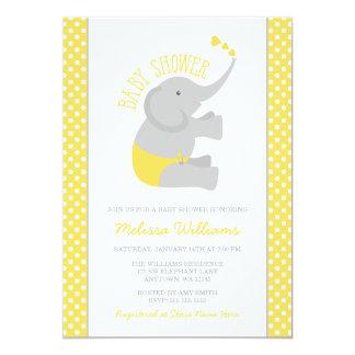 Sweet Yellow Gray Elephant Baby Shower Invitations