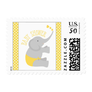 Sweet Yellow Gray Elephant Baby Shower Postage