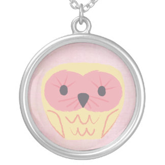 Sweet Yellow & Pink Owl Girls Name Necklace