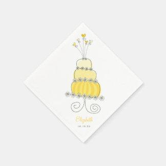 Sweet Yellow Wedding Cake Bridal Shower Party Paper Napkin