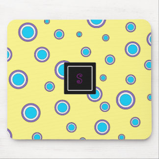 Sweet Yellow with customizable monogram Mouse Pad
