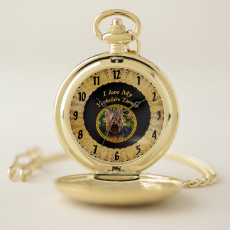 Sweet Yorkshire terrier small dog Pocket Watch