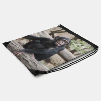 Sweet youmg Chimpanzee Drawstring Bag