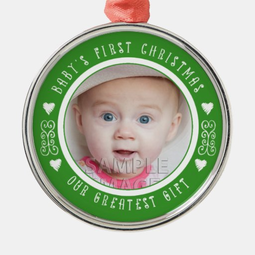 SweetBabyCarrots Babys First Christmas Green Round Metal Christmas Ornament