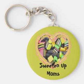 Sweeten Up Moms Basic Round Button Keychain