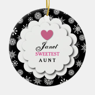 Sweetest AUNT Black White Snowflakes S03Z Double-Sided Ceramic Round Christmas Ornament