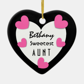 Sweetest AUNT C01G PINK HEARTS and Ceramic Ornament