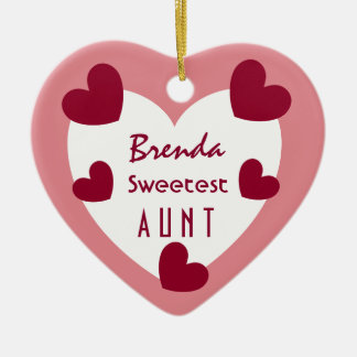 Sweetest AUNT C01N RUBY RED HEARTS Ceramic Ornament