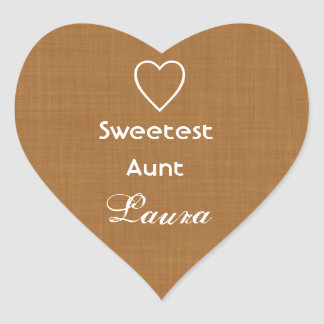 Sweetest Aunt Gold Linen Texture with Heart Gift Heart Sticker