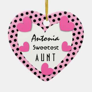 Sweetest AUNT Red Hearts C01D PINK HEARTS Ceramic Ornament