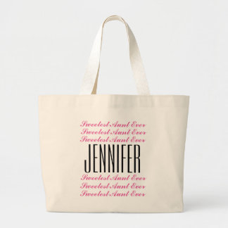 Sweetest AUNT Text Design Custom Name Pink Black 1 Large Tote Bag