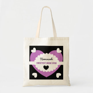 SWEETEST BRIDE EVER Wedding Favor Gift Hearts D05 Tote Bag