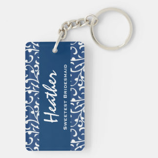 Sweetest Bridesmaid Blue Swirls Gift Collection Keychain