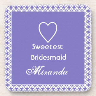 Sweetest BRIDESMAID Purple and White Beverage Coaster