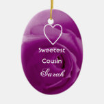 Sweetest Cousin Purple Rose with Heart Gift Christmas Ornament