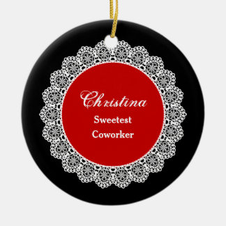 Sweetest COWORKER Ever White Round Lace P03 Ceramic Ornament