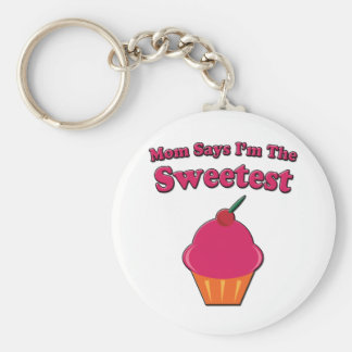 Sweetest Cupcake Saying Basic Round Button Keychain