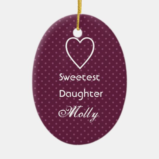 Sweetest Daughter Custom Name Pink Polka Dots Ceramic Ornament