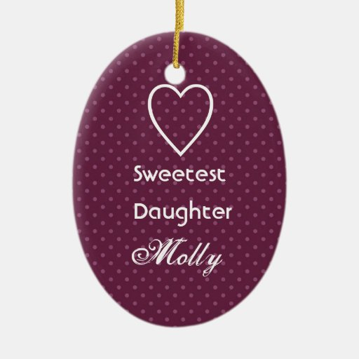 Sweetest Daughter Custom Name Pink Polka Dots Double-Sided Oval Ceramic Christmas Ornament