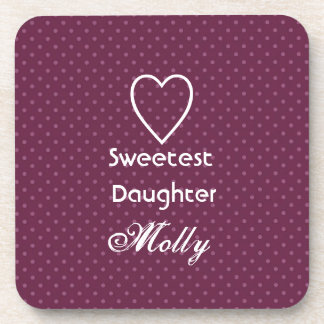 Sweetest Daughter Custom Name Pink Polka Dots Drink Coaster