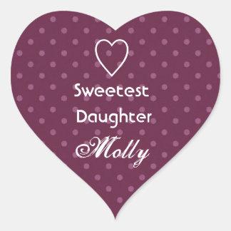 Sweetest Daughter Custom Name Pink Polka Dots Heart Sticker