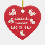 Sweetest DAUGHTER IN LAW Red Hearts V09 Christmas Ornaments