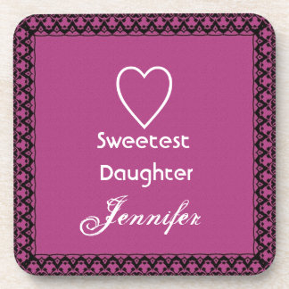 Sweetest Daughter Magenta and White Lace Gift Beverage Coaster