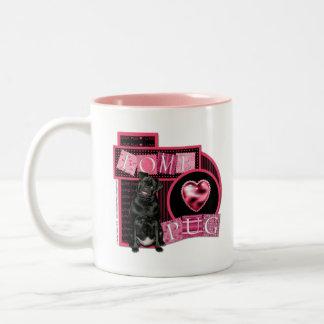 Sweetest Day - Love Pug Two-Tone Coffee Mug