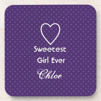 Sweetest Girl Ever Royal Purple Polka Dot Gift Set Beverage Coasters