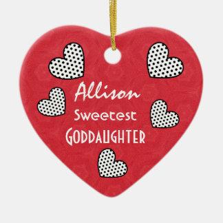 Sweetest GODDAUGHTER Polka Dot Hearts V07A Ceramic Ornament