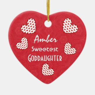 Sweetest GODDAUGHTER Red Hearts V07 Ceramic Ornament