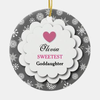 Sweetest Goddaughter Silver White Snowflakes S18Z Ceramic Ornament