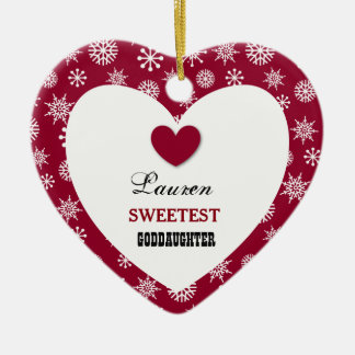Sweetest Goddaughter Snowflake Pattern Heart Z09 Ceramic Ornament