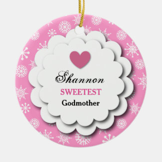 Sweetest Godmother Pink and White Snowflakes S19Z Ceramic Ornament