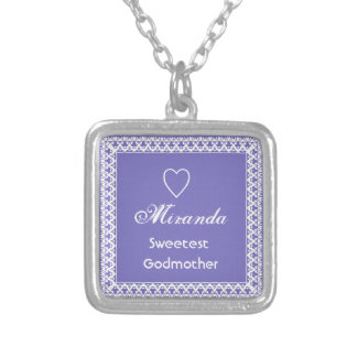 Sweetest Godmother Purple and White Square Pendant Necklace