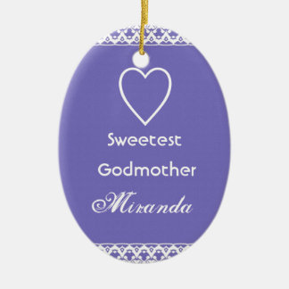 Sweetest Godmother Purple and White Christmas Tree Ornaments