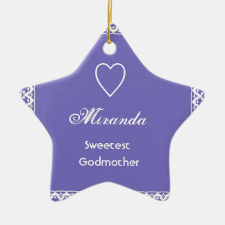 Sweetest Godmother Purple and White Ornaments