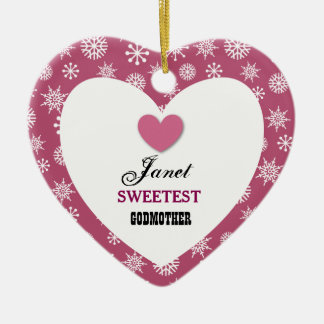 Sweetest Godmother Snowflake Pattern and Heart Z08 Ceramic Ornament
